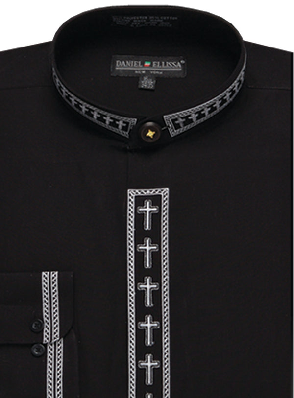 Men's Banded Collar Embroidered Shirt in Black/White - SUITS FOR MENS