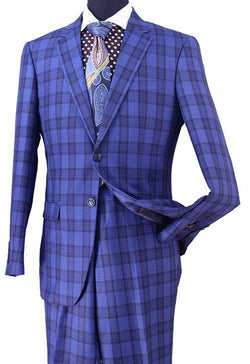 Blue Wool Blend Regular Fit Tone on Tone Check 2 Piece Suit
