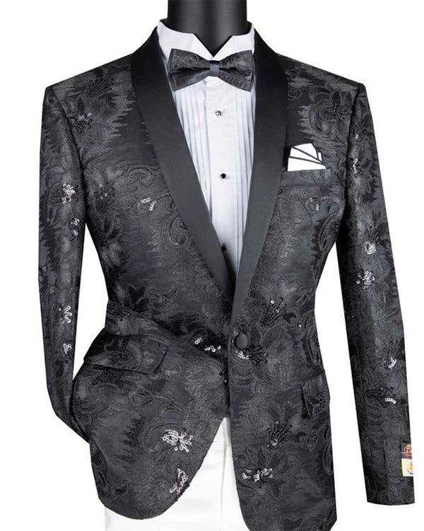 Black Embroidery Slim Fit Jacket Shawl Lapel with Bow Tie