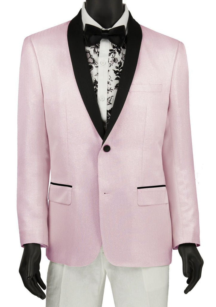 Pink Slim Fit Sport Coat Single breasted 2 Buttons Shawl Lapels - Mens Suits