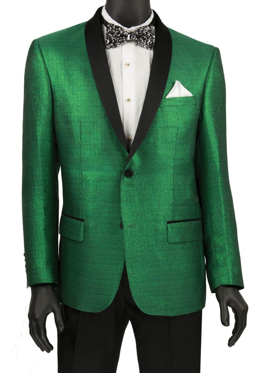 Metallic Shiny Green Slim Fit Sport Coat - SUITS OUTLETS