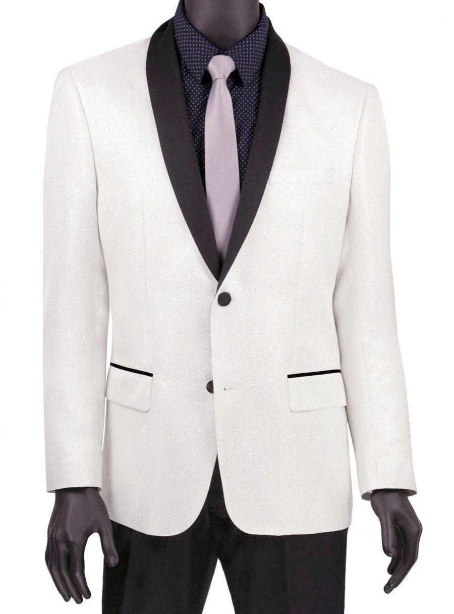 White Slim Fit Jacket Single breasted 2 Buttons Shawl Lapels - SUITS OUTLETS