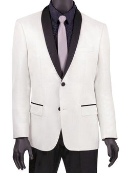 White Slim Fit Jacket Single breasted 2 Button Shawl Lapel - SUITS FOR MENS