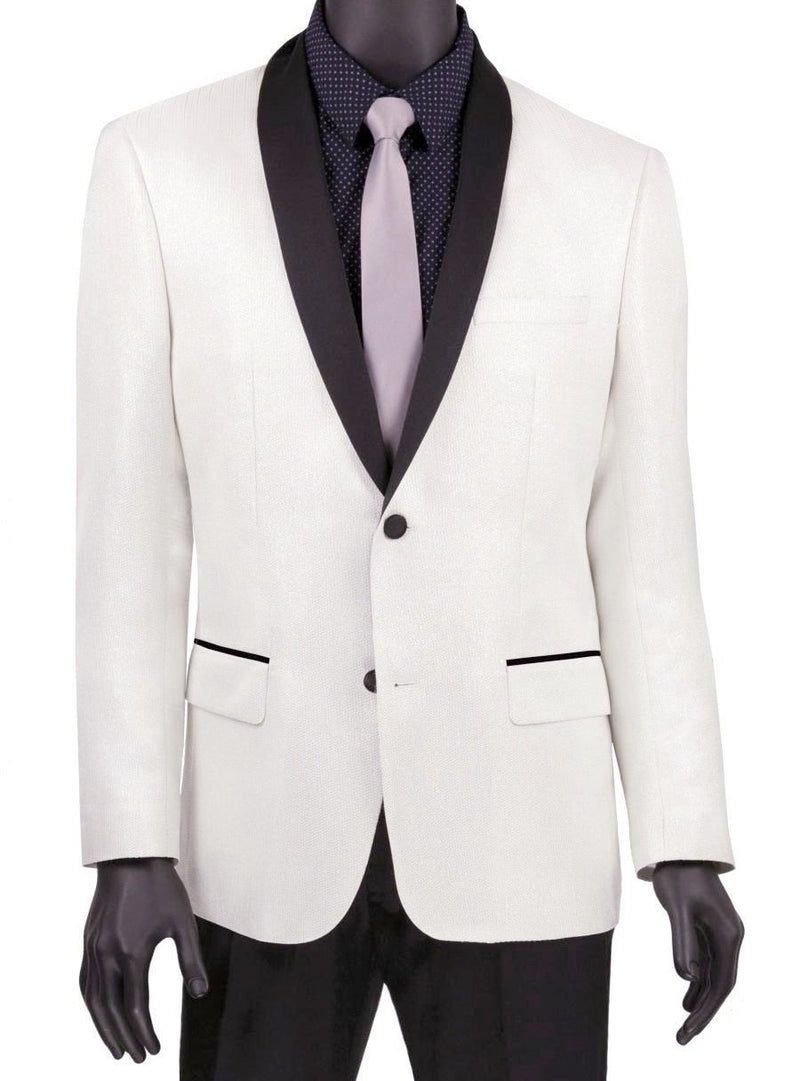 White Slim Fit Jacket Single breasted 2 Button Shawl Lapel - Mens Suits