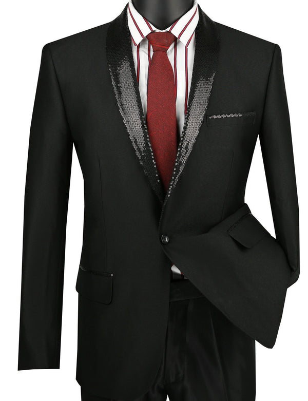 Slim Fit Black Shiny Sharkskin Party Jacket With Sequins Lapel - SUITS FOR MENS