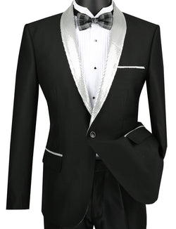 Slim Fit Black Shiny Sharkskin Party Jacket With Silver Sequins Lapel - SUITS FOR MENS