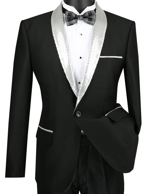 Slim Fit Black Party Jacket With Silver Sequins Lapel