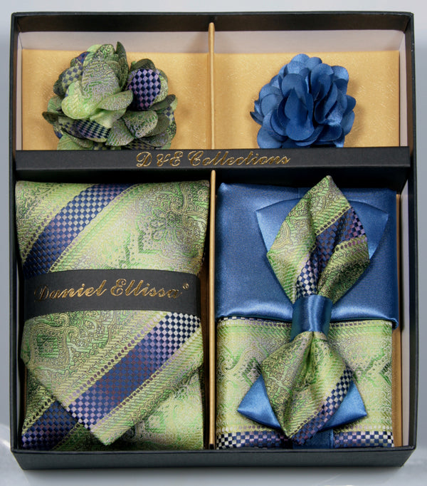 Green and Blue Men's Accessories Collection Box 6 Pieces Set - SUITS FOR MENS