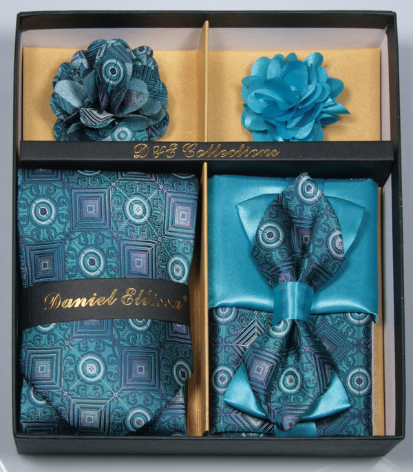 Peacock Blue Men's Accessories Collection Box 6 Pieces Set - Mens Suits