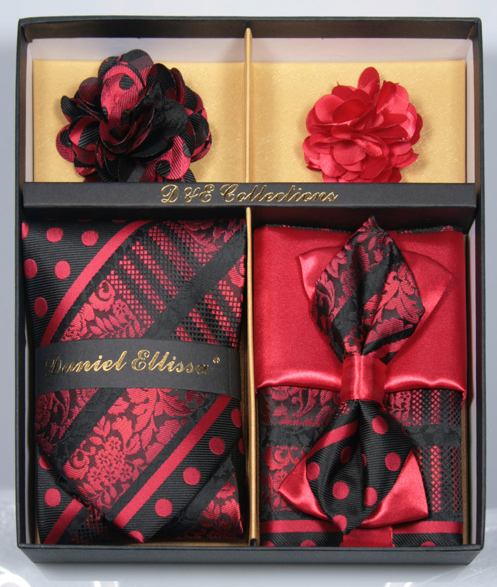 Black and Red Men's Accessories Collection Box 6 Pieces Set - Mens Suits