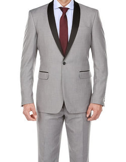 Gray 2 Piece Tuxedo Shawl Lapel Slim Fit - SUITS FOR MENS