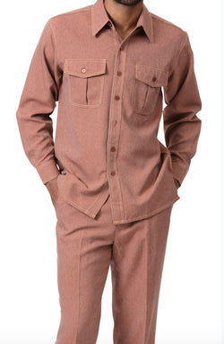 Men's 2 Piece Long Sleeve Cognac Denim Feel Walking Suit