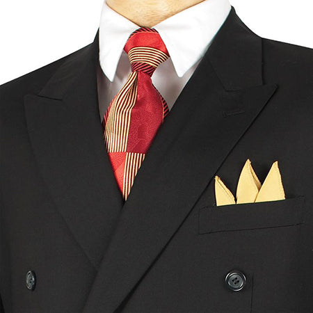 Ramses Collection - Double Breasted Suit 2 Piece Regular Fit in Black - SUITS FOR MENS