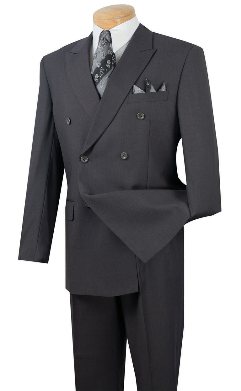 Ramses Collection - Double Breasted Suit 2 Piece Regular Fit in Heather Gray