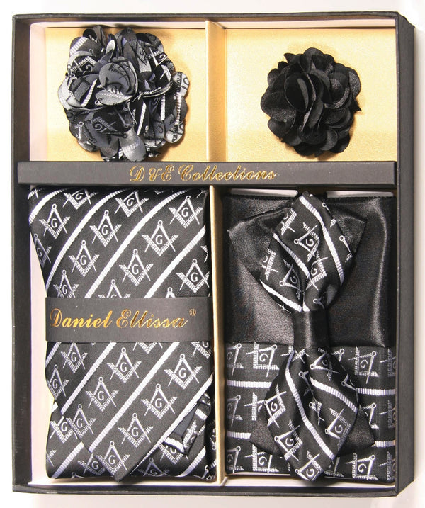 Black and Silver Men's Accessories Collection Box 6 Piece Set