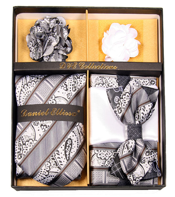 Gray and White Men's Accessories Collection Box 6 Piece Set - SUITS FOR MENS