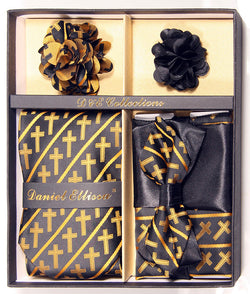 Gold and Black Men's Accessories Collection Box 6 Piece Set