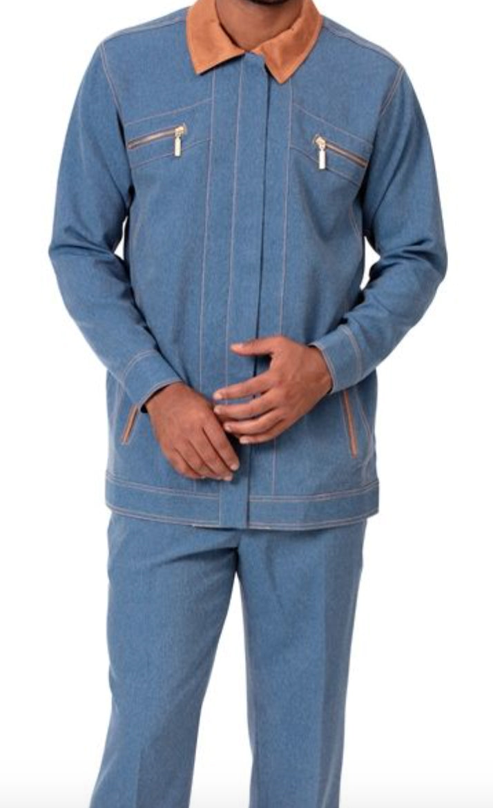 Men's 2 Piece Long Sleeve Denim Feel Walking Suit in Blue
