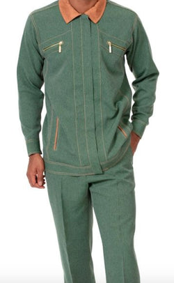 Men's 2 Piece Long Sleeve Denim Feel Walking Suit in Hunter Green