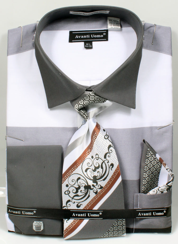 Men's Shirt with Tie and Handkerchief in Black - SUITS OUTLETS