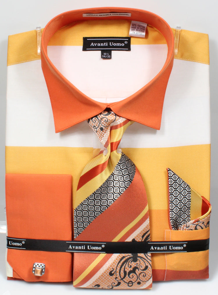 Men's Shirt with Tie and Handkerchief in Yellow - SUITS OUTLETS
