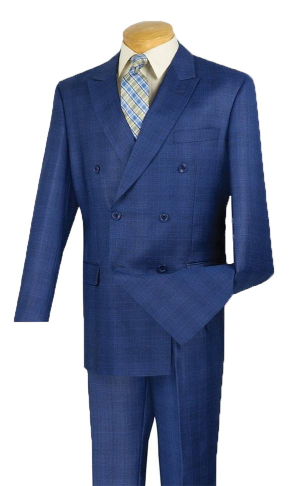 Alexander Collection - Blue Double Breasted 2 Piece Suit Regular Fit Glen Plaid - SUITS FOR MENS