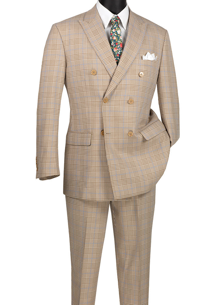 Alexander Collection - Beige Double Breasted 2 Piece Suit Regular Fit Tone on Tone Windowpane
