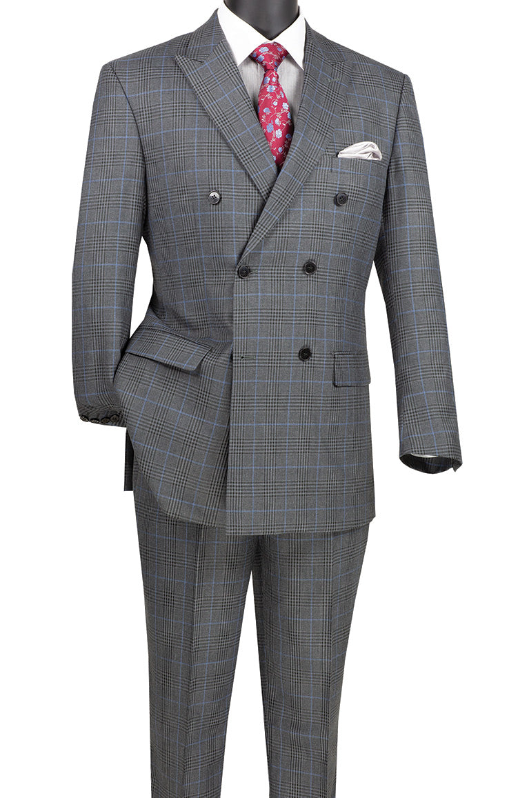 Alexander Collection - Charcoal Double Breasted 2 Piece Suit Regular Fit Tone on Tone Windowpane