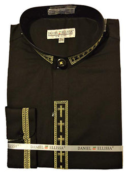 Men's Banded Collar Embroidered Shirt in Black/Gold