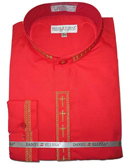 Men's Banded Collar Embroidered Shirt in Red/Gold
