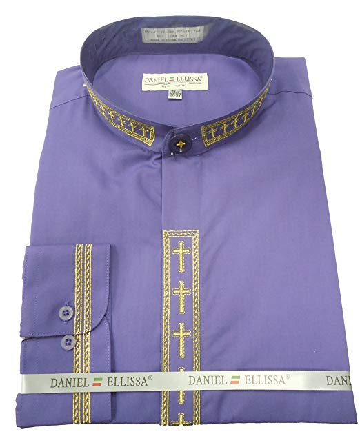 Men's Banded Collar Embroidered Shirt in Purple/Gold