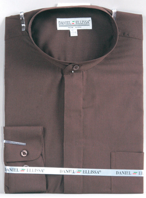 Basic Banded Collar Dress Shirt in Dark Brown - SUITS FOR MENS