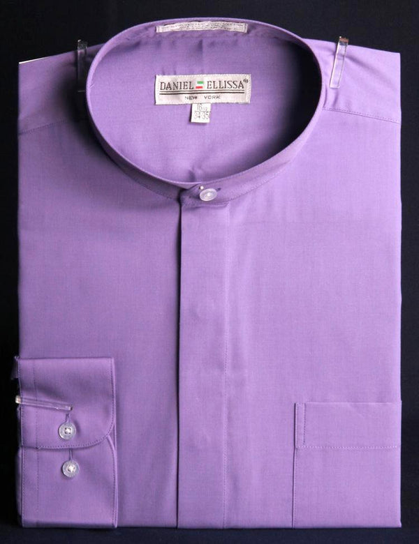 Basic Banded Collar Dress Shirt in Lavender - SUITS FOR MENS