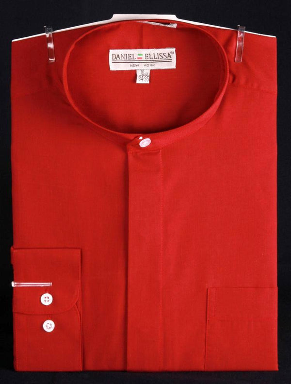 Basic Banded Collar Dress Shirt in Red - SUITS FOR MENS