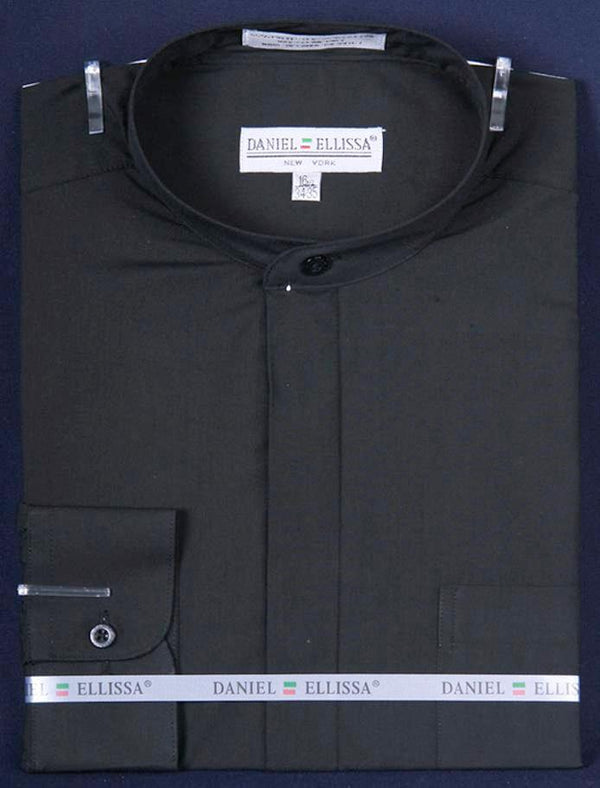 Basic Banded Collar Dress Shirt in Black - SUITS FOR MENS