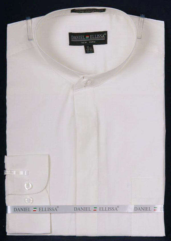 Basic Banded Collar Dress Shirt in Ivory - SUITS FOR MENS