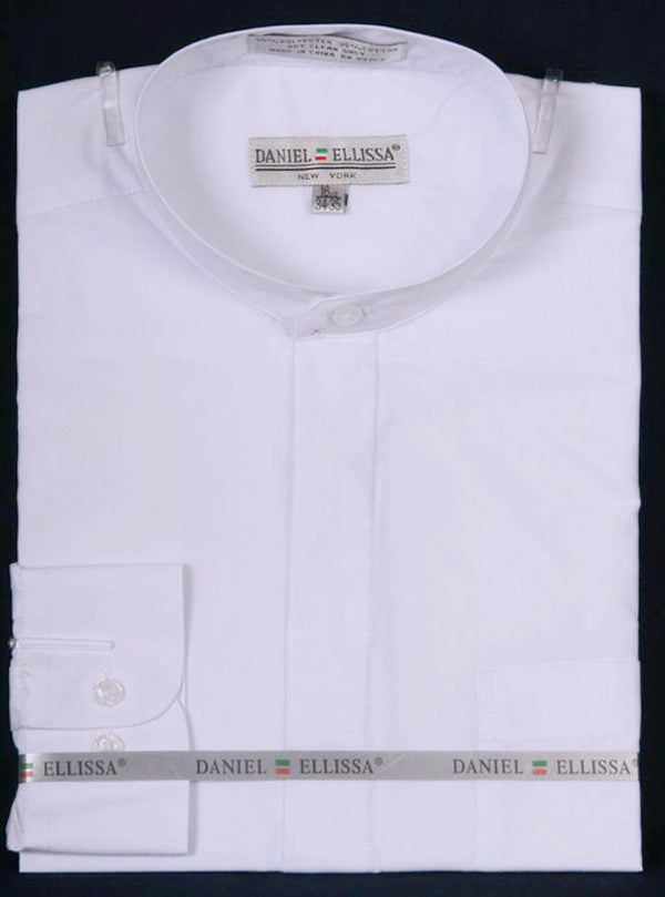 Basic Banded Collar Dress Shirt in White - SUITS FOR MENS