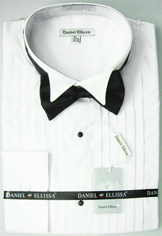 White Regular Fit Half-Inch Pleated Tuxedo Shirt with Bow Tie - SUITS FOR MENS