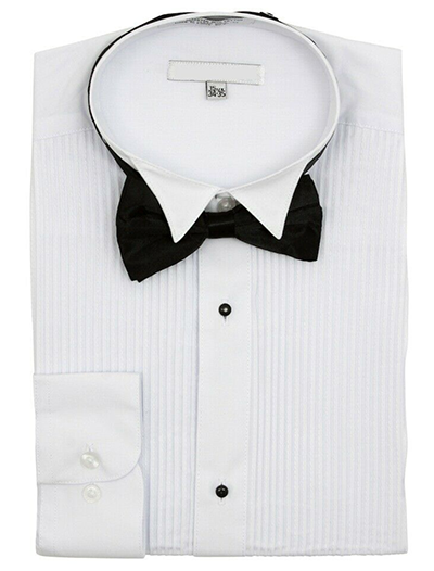 White Regular Fit Wingtip Collar Pin Pleated Tuxedo Shirt with Bow Tie - SUITS FOR MENS