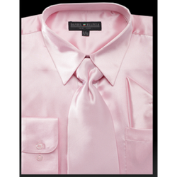 Satin Dress Shirt Regular Fit in Pink with Tie and Hankie - Mens Suits