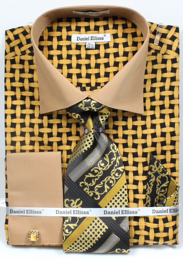 Men's Checker Pattern Cotton Shirt with Tie and Handkerchief in Black/Mustard - SUITS FOR MENS