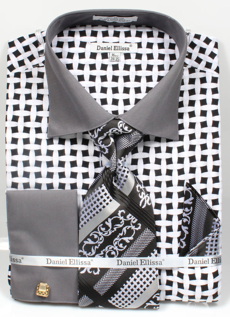 Men's Checker Pattern Cotton Shirt with Tie and Handkerchief in Black/White - SUITS FOR MENS