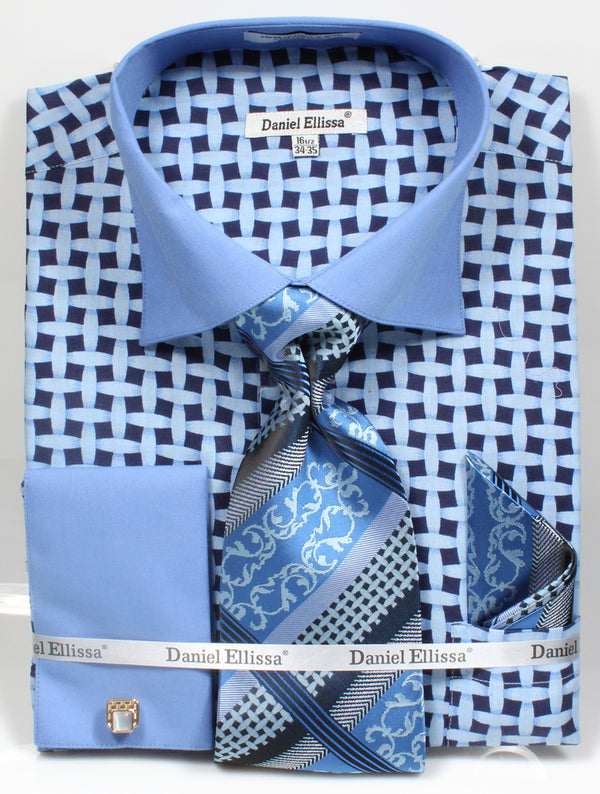 Men's Checker Pattern Cotton Shirt with Tie and Handkerchief in Blue - SUITS FOR MENS