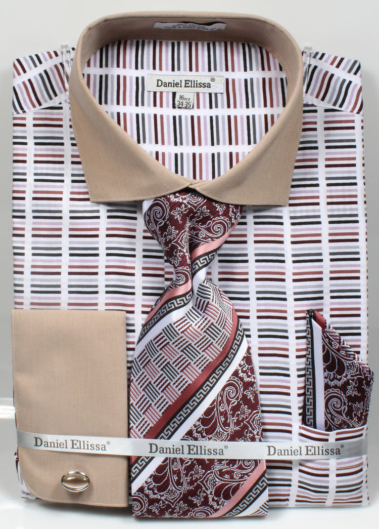 Men's Cotton Shirt with Tie and Handkerchief in Beige - SUITS OUTLETS