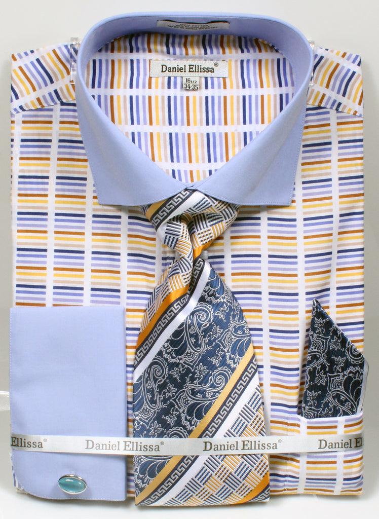 Men's Cotton Shirt with Tie and Handkerchief in Blue - SUITS FOR MENS