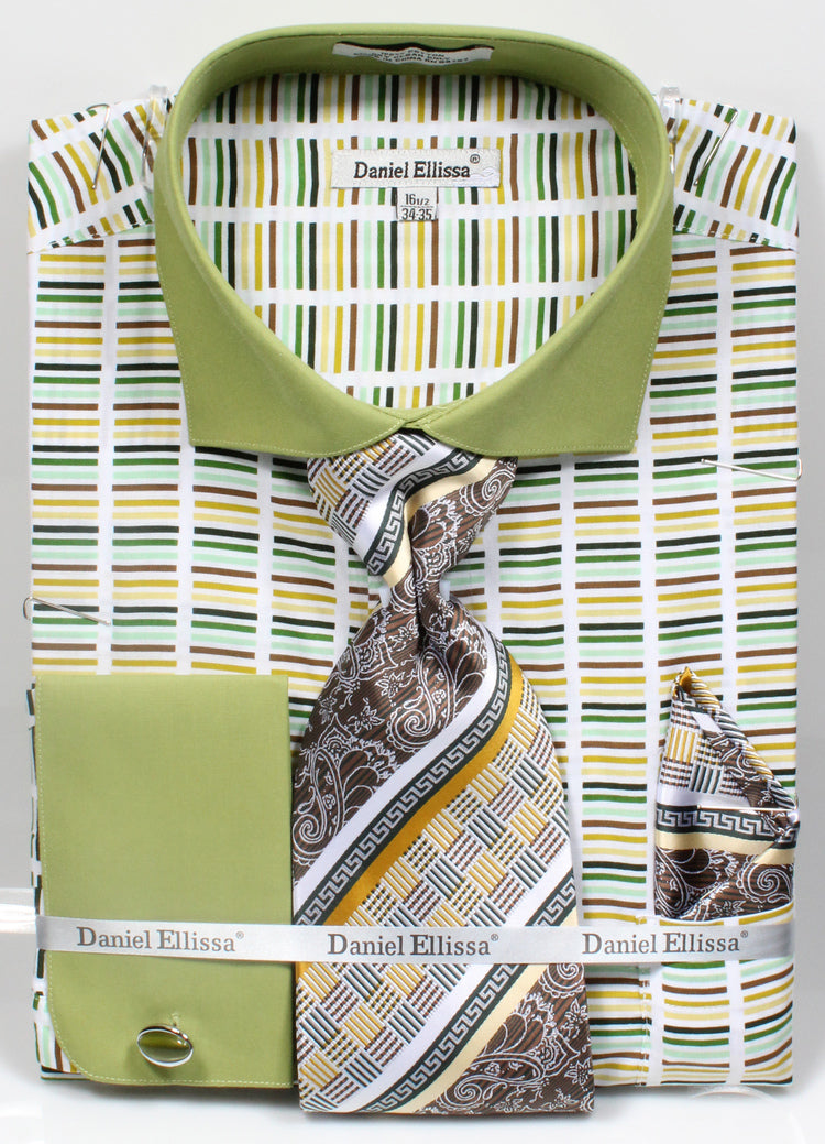 Men's Cotton Shirt with Tie and Handkerchief in Green - SUITS OUTLETS