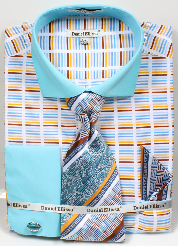 Men's Cotton Shirt with Tie and Handkerchief in Turquoise - SUITS OUTLETS