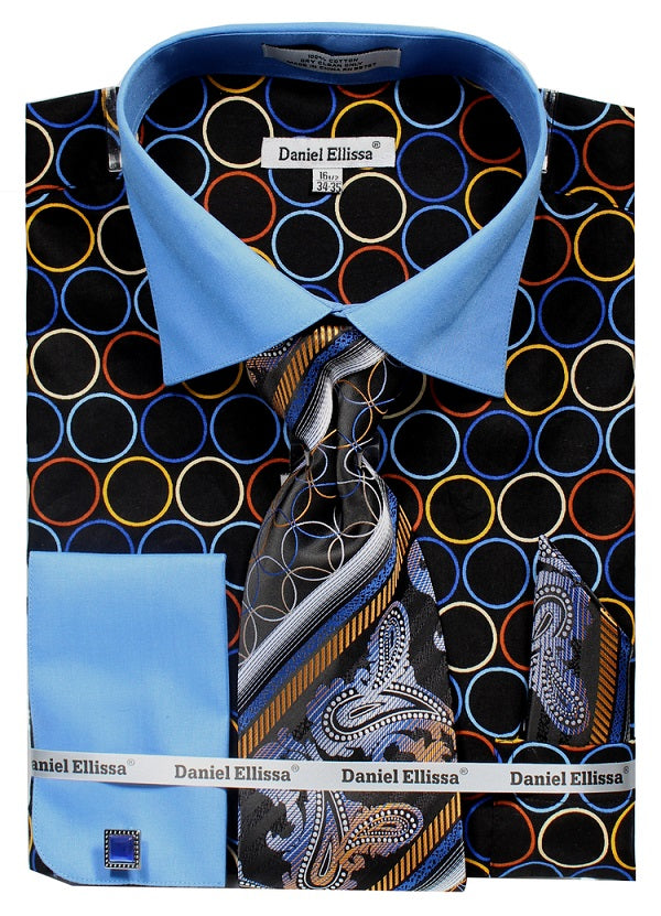Men's Circle Printed Cotton Shirt with Tie and Handkerchief in Black/Blue - SUITS FOR MENS