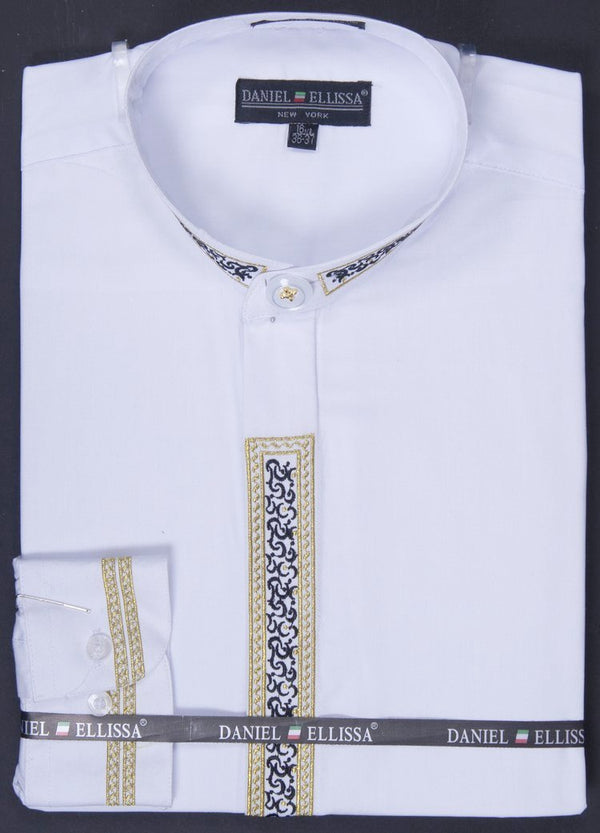 Basic Banded Collar Dress Shirt with Embroidery in White - SUITS FOR MENS