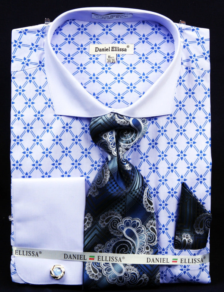 Men's Printed Two Tone Shirts with Tie and Handkerchief in Blue - SUITS OUTLETS